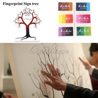 Wholesale Many Styles Wedding Fingerprint Tree Signature Guest Book with Colors Ink Pad Set for Wedding Party Graduation Painting Size S L ZWQD