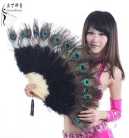 venda por atacado peacock feather fan-Peacock Dança do Ventre Plume Feather Fan Requintado Bambu Handmade Stage Performing Accoessories Para Fãs 10 cores