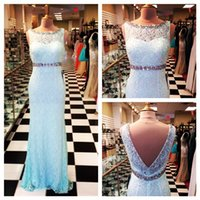 beck light - Mermaid Prom Dress Crystal Beading Beck Sexy V Back Mint Lace Long Prom Party Dress Real Picture Sleeveless Elegant Prom Dress