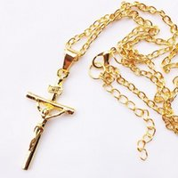 accessories crucifixes - 2015 Fashion Men Women Jewelry Gold Silver Link Chains Cross Necklace Crucifix Charm Long Pendant Necklace Religious Accessories
