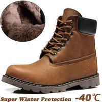 Wholesale Hot Selling Super Warm Men s Winter Boots100 Geniune Leather Boots Men Outdoor Waterproof Rubber Snow boots