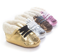 Wholesale Fleece cotton warm winter baby first walker shoes gold girls sports pu leather sneaker high shining shoes children s girl boy infant toddler