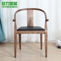 antique back chair - Antique finish solid wood chair modern ikea round backed armchair Chinese style leisure chair creative dining chair color