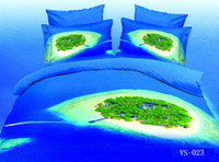 Cheap New Modle 4pcs  6PCS Printed Blue Sea Green Island 3D Bedding Sets Full Queen King California king Size Flat Bed Sheet Or Fitted Bed Sheets