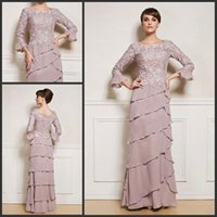 Wholesale Plus Size Mother of the Bride Dresses with Lace Sleeves Chiffon Tiered Long Floor Length Mother of the Groom Gowns