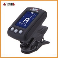 Wholesale Aroma AT Clip on Electric Tuner Colors Backlit LCD Screen for Chromatic Guitar Bass Violin Viola Tuner Universal Portable