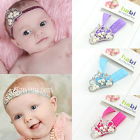 Blending fashion rhinestone crown - Baby Girl Crown Chiffon Headband fashion kids Rhinestone headband flower Sweet Baby Photography Props Children Christmas gifts