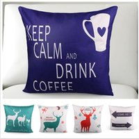 Cheap Cute Christmas Deer Cushion Cover Set Decorative Sofa Car Bed Cushion Cushion Cover Gift Xmas Present
