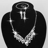Wholesale 5PCS Hot Sale Rhinestone Sliver Plated Necklace Bracelet Earring Four Pieces Elegant Wedding Jewelry Set Bridal Jewelry For Women