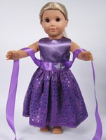 american doll costumes - 2016 New style Popular inch American girl doll purple clothes dress for Christmas gift DD012