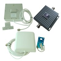 Wholesale 850 MHz GSM CDMA WCDMA EDGE TDMA dB Cell Phone Signal Booster Repeater Amplifier Extender Panel Antennas with White Cable