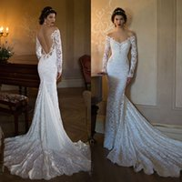 Cheap 2016 Berta Full Lace Backless Wedding Dresses Mermaid Off The Shoulder Long Sleeves Wedding Gowns Chapel Train Beaded Trumpet Bridal Gown