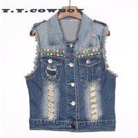 beaded denim jacket - New Beaded sleeveless denim vest ladies fashion casual denim jacket vest with button hole vest women TA1835