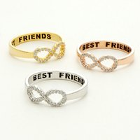 bff rings - Gold Silver Best Friend Gift crystal infinity number romantic engagement rings for women eternity graduation jewelry BFF