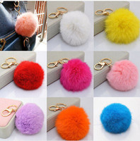 Wholesale Hot Sale Candy Colour Cute Genuine Leather Rabbit Fur Ball Plush Key Chain For Car Key Ring Bag Pendant Car Keychain CA12011