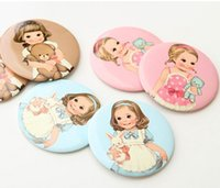 Wholesale Fashion Paper Doll Mate pocket Cosmetic mirror colors Cute portable