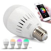 app led - US Stock W E27 Bluetooth Music Audio Speaker Smart LED RGB Colorful Light Lamp APP Support Android and IOS System