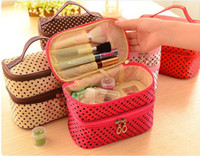 Wholesale Polka Dots Double Layer Dual Zipper Bag Toiletry Organizer Bag Make up Hand Cosmetic Case Pouch With four Color