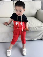 Cheap Fashion summer new children outfits boys girls Mickey hooded short sleeve T-shirt tops + half pants 2 pcs sets kids leisure clothes A6223