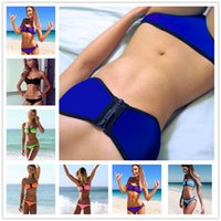 Cheap Wholesale-2015 New Sexy Women Neoprene Bikinis set Zipper Swimwear Triangl Swimsuit Bathing Suits Biquinis Beach Wear Bandeau Swimming V17