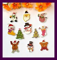 Wholesale Craft Wood Buttons Bulk - scrapbook Bulk decorative buttons mix 11 style 40pcs wood Christmas buttons for craft accessories product Sewing Botons Supplies