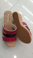 Cheap comfortable wedge sandals red and green color pu and snake pu match