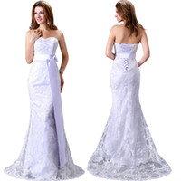 Trumpet/Mermaid beautiful ribbon - Grace Karin Luxurious Beautiful White Lace Wedding Dresses Sexy Lace Up Strapless Sweep Train Bridal Gowns Mermaid CL2527