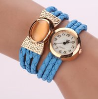 artificial quartz - 2015 New Korea Style Fashion Quartz Artificial Gemstone Bracelet Watch Women Knit Leather Rope Magnet Clasp Wristwatch Casual Watch