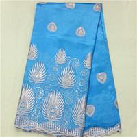 Precio de Cielo azul de la tela de lentejuelas-(5yards / pc) BG6-6 cielo azul del color, la tela del cordón de poliéster George africana hermosa con la decoración de lentejuelas de flores para el vestido de fiesta