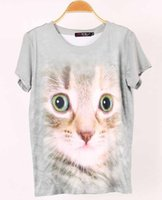 big print signs - 2016 Hot style t shirts European style big shop sign model of cute cartoon cat sets D printing round collar knitting tees for ladies