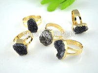 Cheap 5pcs CHARM NATURE Druzy Quartz Ring i Black color, Gold plated Amethyst Crystal Drusy Gem stone Finger Rings
