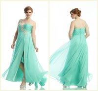 seafoam - Plus Size One Shoulder Prom Dress Straight Zipper Floor Length Sleeveless Chiffon Evening Gowns Crystal Beading Seafoam Party Dresses