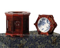 Wholesale Chinese antique wood mahogany crafts set top grade general merchandise wood carving tissue box ashtray gift box set