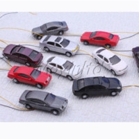 Wholesale 5PCS HO Scale Building Street Layout Painted Flaring Model Car Different style car barometer scale fish