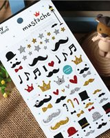 Wholesale New Bling Bling D Fashion Moustache Sticker Creative Diary Decoration Stiker packs