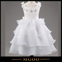layer cake - MGOO Romantic Beautiful White Ball Gown Dresses Flowers Neck Cake Layers Dress For Wedding Infant Party Dress
