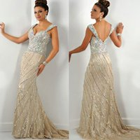 Cheap Sparkling Mermaid Crystal Evening Dress Champagne Straps Corset Diamond Prom Gown 2015 Vestido de Festa E6195