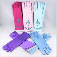 Wholesale 5 colors NEW Gloves Extra Long Blue Elsa Princess Gloves Elsa cosplay Gloves baby girl party princess gloves DDA3091 pairs