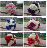 Wholesale 2015 Wedding Bouquet Bride Bouquet silk Artificial Flower bridesmaid Bouquet for Wedding Decorations wedding a hank two tone flower