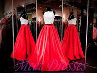 Wholesale Two Piece Prom Dresses New Designers Long Evening Dress Applique Beads Red Satin Ball Gown Formal New Year Party Gowns For Women