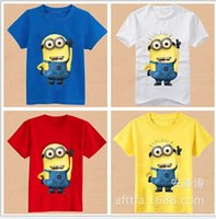 boys t-shirt - 2015 New fashion Cartoon T shirt Minion Rush Despicable Me Pullover Short Sleeve Modal for Kids Children Boys Girls For yr Factory Free