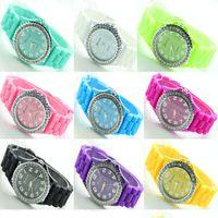 Wholesale 100pcs hottest woman rhinestone watch geneva brand fashion dress watch lady classic cheap silicone watch
