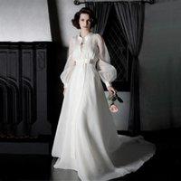 Wholesale 2015 Sexy High Quality Wedding Jackets Long Bridal Coats Organza Sleeves Sheer Jacket Ivory Bow Sash Court Train Bridal Wrap Custom Made