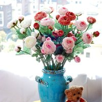 artificial flower ranunculus - High Quality Beautiful Fabric Artificial Pink Ranunculus Wedding Bouquet Flower Home Decoration Colors Available