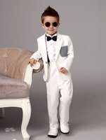 Wholesale Two Pieces Luxurious white Bearer Suits trend Boys Tuxedo With Black Bow Tie kids formal dress boys suits fashion kids suits