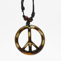 carved bone beads - Tribal Yak Bone powder Carved Peace Sign Pendants Necklace Adjustable Wood Beads Rope MN111