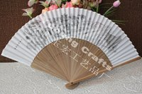 chinese fans - 20pcs Chinese style bamboo hand fan handmade silk fan with traditional Chinese monochrome design print