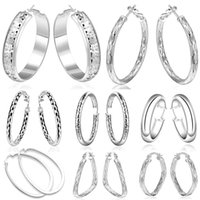 Wholesale HOT Top Quality Fashion Silver Jewelry Earrings For Women Charm Hoop Earrings Mix Styles pairs