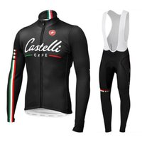 Wholesale Cas telli Cafe Cycling Jersey Sets Long Sleeve Winter Autumn Fleece None Fleece Men Cycling Clothing Black Long Tops Padded Trouseres XS XL