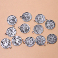 achat en gros de charmes chinois-36pcs / lot 18 * 20mm Round New Assorted Constellation Signes de Zodiac Vintage Bronze Alliage Charms Pendant Fit Jewellery, YiWu